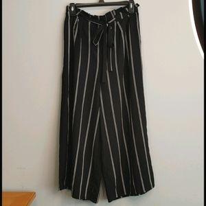 Women's Black and White Striped Culottes